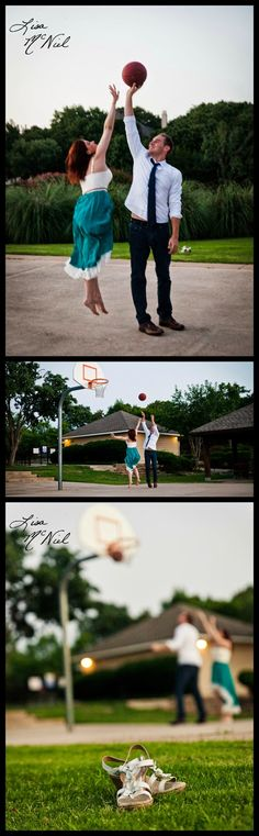 Engagement photography ideas, click the pic to see 33 more unique engagement photos, DFW photographer, North Texas Photography, basketball