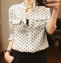 Camisa Social Jeans, Sewing Blouses, Chiffon Shirt, Look Chic, Blouse Styles, Fashion Outfits, Womens Fashion, Nice Tops, Blouses For Women