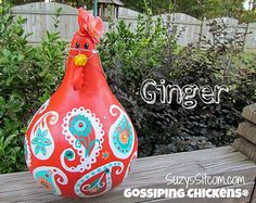 chickens gourd art, paisley, painted gourds, chicken, hen, burnt orange, teal, orange #handmade #gifts