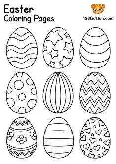 Easter Eggs Coloring Pages for Kids We have Free Easter Coloring Pages for Kids with Easter Egg, Easter Bunny, Easter Chick, Easter Basket. Kids will have lots of fun! Free Easter Coloring Pages, Easter Egg Coloring Pages, Easter Bunny Colouring, Coloring For Kids, Food Coloring, Coloring Books, Easter Eggs Kids, Easter Crafts For Kids, Easter Table