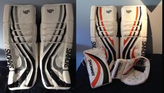 Here's another great before and after pic. This customer had White, Black, Silver Simmons pads and gloves. He decided he wanted to get rid of the Silver so he purchased our Orange PadSkinz and placed it over top of the Silver. Great work and a great new look for your pads and gloves! www.padskinz.ca