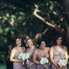 """This is how you celebrate """"I do!"""" The happiness Gianna's bridesmaids shared with she and Steven on their wedding day is something people dream of having in their friends. Maui Weddings, Hawaii Wedding, Wedding Day, Lavender Bridesmaid Dresses, Bridesmaids, Wedding Dresses, Wedding Programs, Wedding Events, Wedding Designs"""