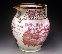 PINK LUSTRE POTTERY PITCHER DATED 1814 ENGLISH