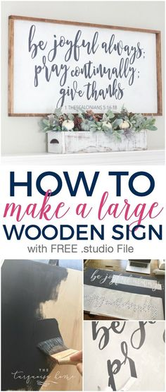 LOVE how this turned out! So cute!! How to Make a Large Wooden Sign - with a FREE .studio file!