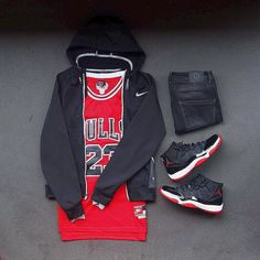 WEBSTA @ colorwaze - Requests: 1) Can the election be over. 2) Can the season start tomorrow. #outfitgrid▫️Jersey / ▫️Jacket / #NikeElite▫️Denim / #Zara▫️Kicks / #Jordan11 #Bred