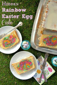 Hidden Rainbow Easter Egg Cake #glutenfree