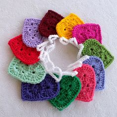 Valentine Crochet Heart Colorful Bunting/Garland