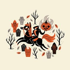halloween illustration 10 Spooky Designs to Get Yo - halloween Retro Halloween, Spooky Halloween, Halloween Prints, Halloween Season, Spirit Halloween, Halloween Themes, Halloween Designs, Halloween Table, Halloween Illustration