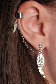 Wings Ear Cuffs Unusual Earrings Chain Cartilage Ear cuff Fake Piercing Mismatched Angel Charm Stud Earrings Coworker Gift for Girlfriend - Wings Ear Cuff Set Unusual Earrings Angel Earcuff Fake Piercing Earrings Mismatched earrings Cowork - Fake Piercing, Pretty Ear Piercings, Ear Piercings Cartilage, Ear Gauges, Peircings, Cartilage Earrings, Tongue Piercings, Unusual Piercings, Upper Ear Piercing