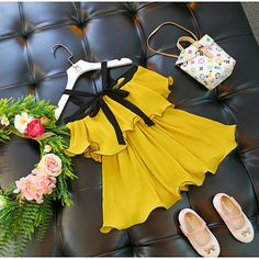 Product Name Yellow Cold Shoulder Pleated Dress Brand Name newpopreal SKU Material Cotton Age Years Old Recommended Height inch cm 90 35 90 100 39 100 110 43 110 120 47 120 130 51 130 All dimensions are measured manually with a deviation of to Girls Frock Design, Kids Frocks Design, Baby Frocks Designs, Baby Dress Design, Cute Little Girls Outfits, Kids Outfits Girls, Toddler Girl Dresses, Baby Girl Fashion, Kids Fashion