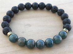Men's Bracelet, Apatite Bracelet, Lava stone Bracelet, Manifestation Bracelet, Energy Bracelet, Yoga Bracelet, Spiritual Bracelet by CrystaliciousDesigns on Etsy