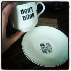 Don't blink weeping angel teacup and saucer.