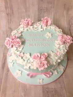 Floral retirement cake