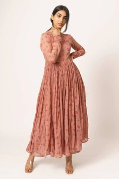 Buy Floral Print Anarkali by Dot at Aza Fashions Indian Gowns Dresses, Indian Fashion Dresses, Dress Indian Style, Indian Designer Outfits, Pakistani Dresses, Indian Outfits, Cotton Dress Indian, Cotton Long Dress, Cotton Gowns