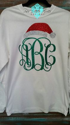 Items similar to Santa Hat Glitter Christmas Monogram (Adult Long Sleeve) on Etsy - Holiday Shirts - Ideas of Holiday Shirts - Santa Hat Glitter Christmas Monogram Adult by TwoLittleHootsDesign Vinyl Monogram, Monogram Shirts, Vinyl Shirts, Personalized T Shirts, Monogrammed Christmas Shirts, Monogrammed Ideas, Christmas Tee Shirts, Monogram Shop, Winter Shirts