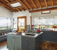 Got it covered with Duette® Architella® honeycomb shades.  From smart design to energy efficiency, and from windows to doors and even skylights,  Hunter Douglas honeycomb shades cover it all with eco-chic style.  #WindowTreatments #Kitchen