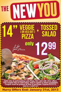 """14"""" Veggie(or veg out) Pizza + Tossed Salad - $12.99"""