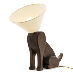Sitting Dog Lamp with Collar of Shame