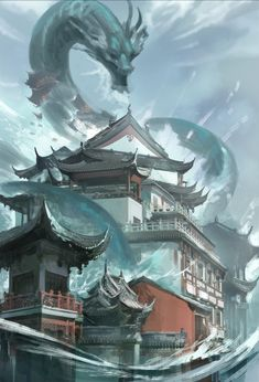 ArtStation - Flood, Sandara Tang Dragon Art, Sci Fi, Artist, Artwork, Anime, Wallpapers, Water Dragon, Dragons, Kites