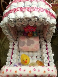 Inside view of carriage/stroller diaper cake