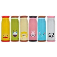 5498f6c5b3 Metal Insulated Animal Print Kids Bottle 500ml. Six cute designs including,  bunny, panda. Bokkles Co.