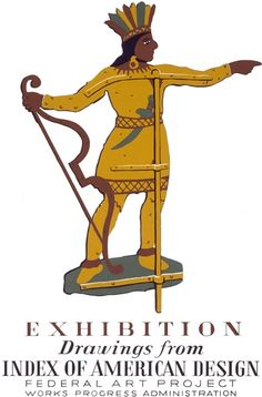 This poster shows a weather vane in the shape of a Native American. The poster was produced by the WPA Federal Art Project and published circa 1938.