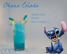 Disney-themed Cocktails by Cody - Ohana Colada (Stitch / Lilo & Stitch). Description from his Facebook: In this tropical Hawaiian themed drink, with extraterrestrial touches, the Ohana-Colada is this little 'fluffy' aliens cocktail. I've been waiting to use my mango rum, and I'm so happy I got to finally use it. It's garnished with blue gummy worms to resemble his..... Antenna? And Hypnotiq Harmony layered at the bottom to be his ear coloring.