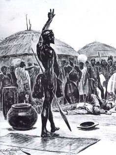 6 February 1838 The treaty which Piet Retief and Dingaan had signed, granting the Trekkers territory, was found later with Retief's body. Retief and his party were impaled and clubbed to death outside the main settlement. Zulu Wedding, Zulu Women, Zulu Warrior, South Africa Tours, African Royalty, Jacob Zuma, Kwazulu Natal, African Tribes, My Land