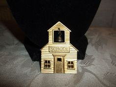 VTG. JJ JONETTE PEWTER GOLD TONE ARTICULATED BELL SCHOOLHOUSE LARGE BROOCH~ #JJJonette