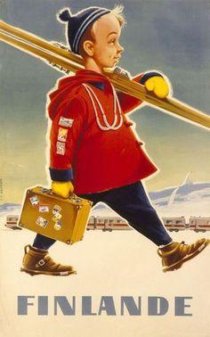 Vintage travel poster from FinlandThe Ski-Boy / Finland / - Artist: Osmo K. Vintage Ski Posters, Cool Posters, Vintage Ads, Retro Posters, Poster Ads, Poster Prints, Railway Posters, Europe, Norway
