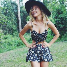 romper floral black shorts skort daisy print set bralet top skirt summer lolita bow matching skirt and top wide brim hat strappy crop top