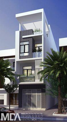 NHÀ PHỐ 4,6X20M | Kiến trúc MDA 3 Storey House Design, Bungalow House Design, House Front Design, Small House Design, Modern House Design, Building Design, Building A House, Model House Plan, Narrow House