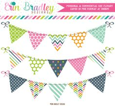 Pink Blue Green Orange Banner Flag Clipart – Erin Bradley/Ink Obsession Designs