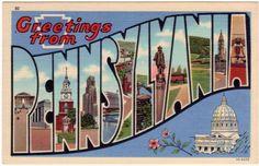 Vintage Pennsylvania Postcard - Greetings from Pennsylvania (Unused). $5.00, via Etsy.