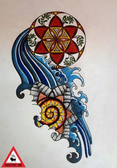 Water Mandala  #combination of #geometry and #japanesewater. More designs available!  #floweroflife #originalart #monstersink #nimztattooz #delhi #gurgaontattoo#tattoodesign #dots #spiral #lines