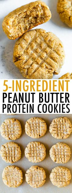 Peanut butter protein cookies made with just 5 simple ingredients: oats, protein powder, peanut butter, apple sauce and honey or maple syrup. Each cookie has 4 grams of protein! Keto Cookies, Protein Powder Cookies, Peanut Butter Protein Cookies, Protein Powder Recipes, Vegan Peanut Butter, Powder Peanut Butter Recipes, Peanut Butter Healthy Snacks, Peanut Powder, Minecraft Skins