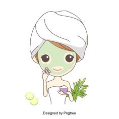 Aesthetic, cartoon, lovely, hand-painted, skin care, beauty, beauty, spa, leaves, lemon slices, do facial mask, massage Cream