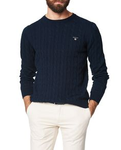 1180ae6a25c Gant Cotton cable crew evening blue/blue 80051 433 Pullover på Zoovillage
