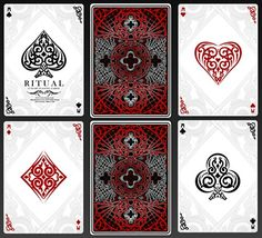 Ritual Luxury Playing Cards by US Playing Cards : マジック . Unique Playing Cards, Custom Playing Cards, Line Art Design, Game Design, Playing Card Tricks, Art Carte, Trump Card, Card Drawing, Magic Book
