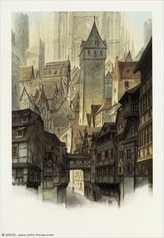 Streets of Minas Tirith by John Howe