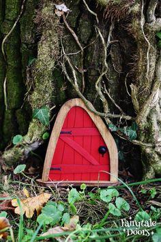 Fairy Door 'Iris' in Red Red Fairy door Fairy door | Etsy Fairy Doors On Trees, Fairy Tree, Tiny Guest House, Iris, Tooth Fairy Doors, Gnome Door, Wooden Tree, Beautiful Fairies, Plant Art