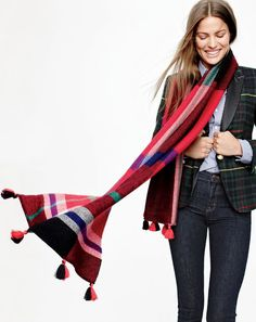 A sure-thing gift: this cozy, tasseled J.Crew scarf in oversized plaid.