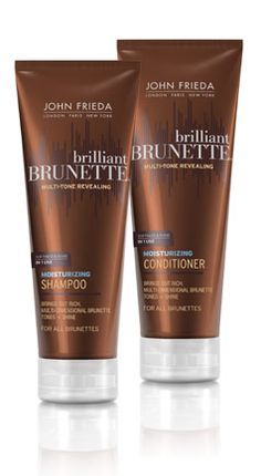 John Frieda Brilliant Brunette....I try expensive shampoos/conditioners, but always come back to this! Smells like comfort and caramel & makes hair super shiny.