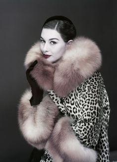 Vogue, November 1954 Photographer: Erwin Blumenfeld Model: Nancy Berg Fur wrap by Somali