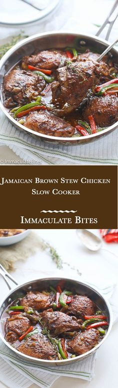 Slow Cooker Jamaican Brown Stew Chicken-An incredibly rich-in-flavor all time Jamaican classic- Jamaican Brown Chicken Sauce right in your slow cooker. (slow cooker recipes with chicken) Crock Pot Recipes, Crock Pot Cooking, Slow Cooker Recipes, Cooking Recipes, Lunch Recipes, Chicken Recipes, Jamaican Cuisine, Jamaican Dishes, Jamaican Recipes