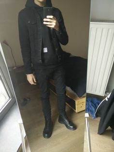 Male Outfits, Black Outfits, Winter Outfits, Cool Outfits, Dr. Martens, Dr Martens Men, Mens Winter, Mens Fall, Autumn Winter Fashion