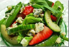 Spring Salad of Peas, Tendrils, Strawberries & Cucumbers