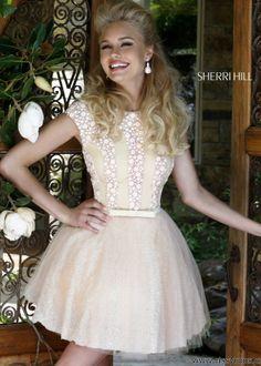 Sherri Hill 4301 - Blush Beaded Short Homecoming Dresses Online