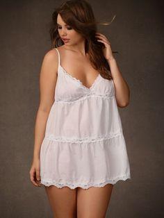 4a01bb3ba5 Soft Cotton Chemise with Lace Trim Plus Size Underwear