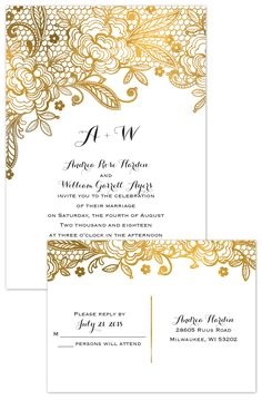 Love the look of gold foil but loathe the cost? Choose a faux gold foil style and get the same look for so much less! Bonus: Get a FREE rsvp postcard with this elegant design!